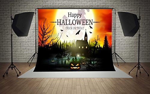 8ft(W) x8ft(H) Happy Halloween Backgrounds Pumpkins Castle Trick Or Treat Party Decorations Microfiber Photo Backdrop Studio Props