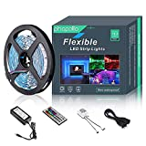 LED Strip Lights Non-Waterproof Flexible RGB Color Changing SMD 5050 150leds 16.4ft 5m LED Tape Kit with 44 Keys IR Remote Controller and 12v Power Supply for Indoor Bedroom Party and Home