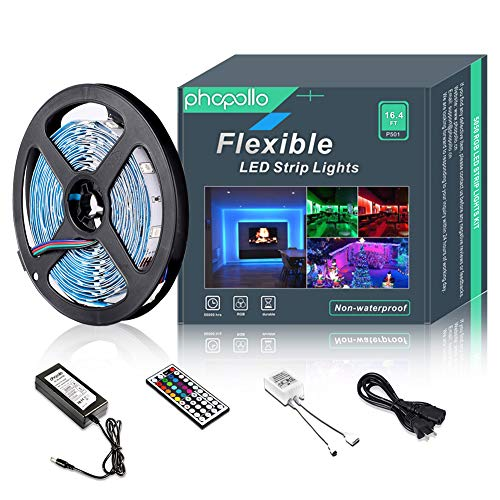 Light Led Strip - LED Strip Lights Non-Waterproof Flexible RGB Color Changing SMD 5050 150leds 16.4ft 5m LED Tape Kit with 44 Keys IR Remote Controller and 12v Power Supply for Indoor, Bedroom, Party and Home