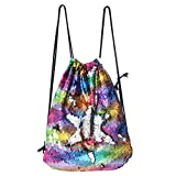Play Tailor Mermaid Drawstring Backpack, Sequin Drawstring Dance Bag for Women Girls Teens (Colorful Wave-Silver)
