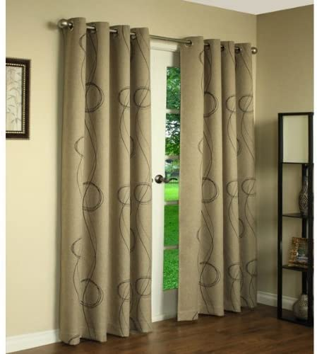 Beige Brooke Printed Thermalogic Blackout Grommet Curtain Panel By Commonwealth