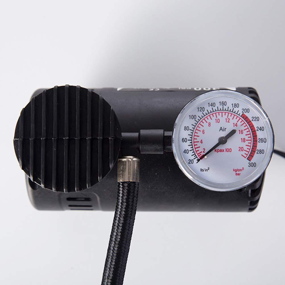 Negro LIOOBO Bomba compresora de Aire inflador de neum/áticos el/éctrico port/átil con man/ómetro de presi/ón para Coche DC 12 V 100 W