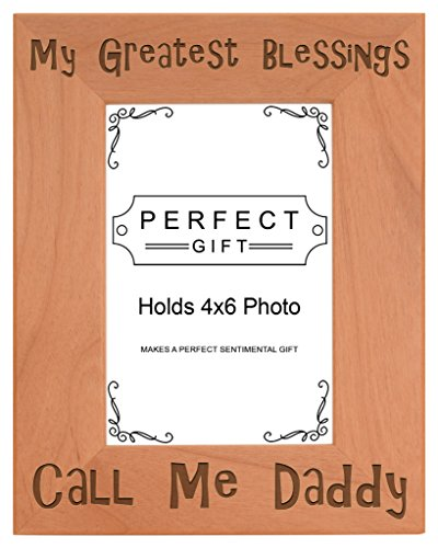 - ThisWear Dad Blessings Call Me Daddy Natural Wood Engraved 4x6 Portrait Picture Frame Wood