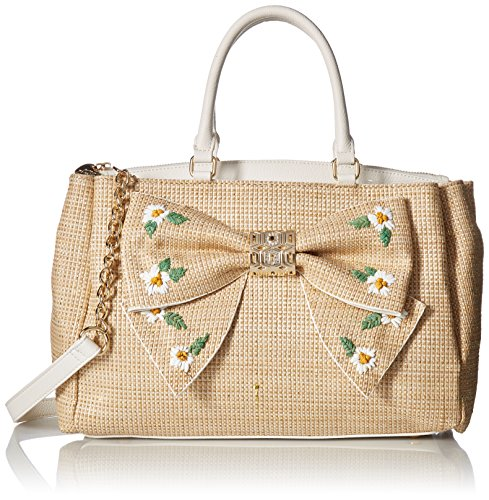 Betsey Johnson Daisy'D and Confused Bow Satchel, Natural by Betsey Johnson