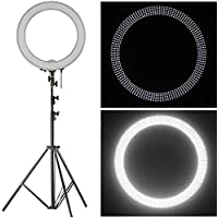Neewer 18 LED Ring Light Dimmable for Camera Photo Video,Make Up, Youtube, Portrait and Photography Lighting, Includes(1)Ring Light+(1)9 Feet Heavy Duty Light Stand+(1) Soft & Orange Filter Set