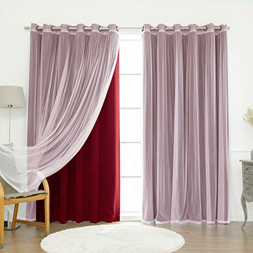 Best Home Fashion - Best Home Fashion Mix & Match Wide Width Tulle Lace & Solid Blackout Curtain Set – Antique Bronze Grommet Top – Burgundy – 80