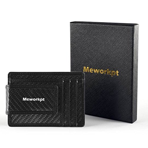 【Gift Box】MeWorkpt Carbon Fiber Front Money Clip Slim Minimalist Wallets with Powerful Magnets Plus RFID Blocking by MeWorkpt (Image #9)
