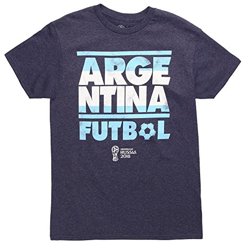 Fifth Sun World Cup 2018 Argentina Stacked Adult T-Shirt - Navy (X-Large)