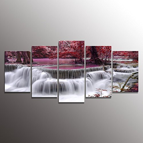 Formarkor Art Canvas Print For Living Room Decoration, Kx00202 Framed,  Stretched , 5 Panels Red Dreamlike Waterfall Painting Wall Art Picture  Print On ...