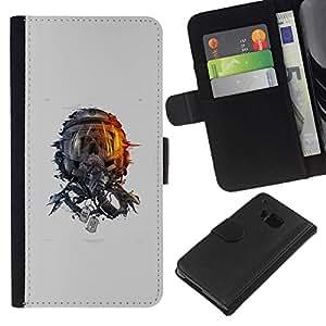 All Phone Most Case / Oferta Especial Cáscara Funda de cuero Monedero Cubierta de proteccion Caso / Wallet Case for HTC One M7 // Space Skull