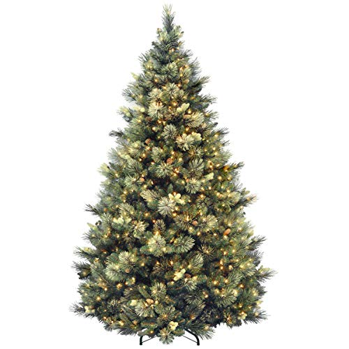 National Tree 7.5 Foot Carolina Pine Tree with Flocked Cones and 750 Clear Lights, Hinged (CAP3-306-75) (Pre Christmas Lit 8ft Tree)