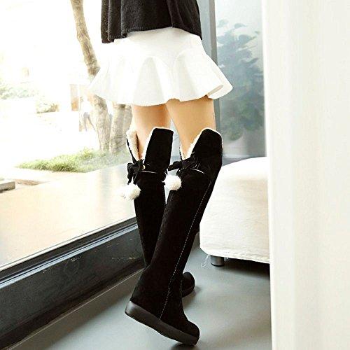 Collar Shoes COOLCEPT Warm Fold Cuff Boots Lined Winter Women Black Long q7zOa7Wt