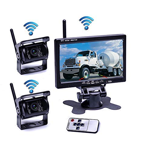 Podofo Wireless Vehicle 2 x Backup Cameras Parking Assistance System Ir Night Vision Waterproof Rear View Camera 7 Monitor for RV Truck Trailer Bus