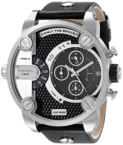 diesel-mens-dz7256-little-daddy-stainless-steel-black-leather-watch