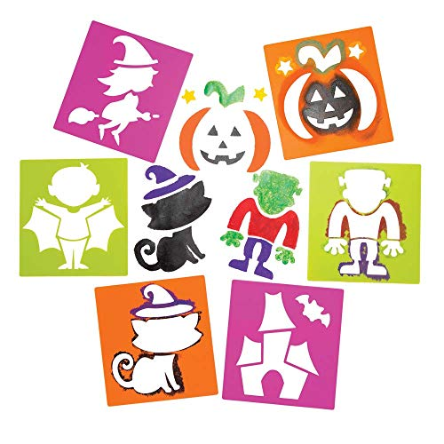 Baker Ross Halloween Stencils (Pack of 6) for Kids Halloween Arts and Crafts -