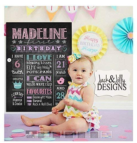 PERSONALIZED BIRTHDAY 8x10 Unframed CHALKBOARD PRINT/SIGN - First Birthday - You Choose the Colours.and Theme]()