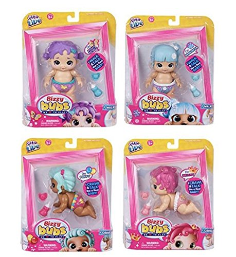Bizzy Bugs - Little Live Pets Little Live Bizzy Bubs 4 Pack (Primmy, Poppy, Polly Petals, Snowbeam) Baby Doll, Multi, One Size