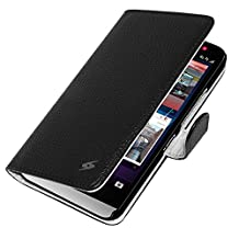 Amzer AMZ97940 Flip Folio Cover with Credit Card Slot Cell Phone Case for BlackBerry Z30, Retail Packaging, Black