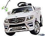 Kinderfahrzeug Kinder Elektro Auto Ride On Mercedes Benz ML 350 SUV weiß 2xMotoren Licht und Sound mit Fernbedienung