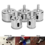 Best to Buy New 5pcs 26/32/38/45/50mm Diamond Coated Drill Bits Set Hole Saw Tool for Glass Marble single c-cut tools hole saw tempered glass drill bit non-arbored arbored coping sea press dremel kit
