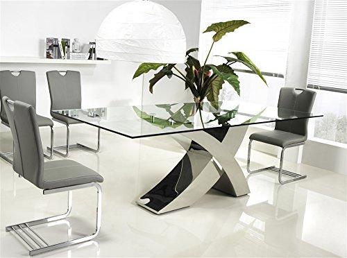 Casabianca Furniture GENEVA Chrome/Clear Glass Dining Table by Casabianca Home, (Table Dining Geneva)