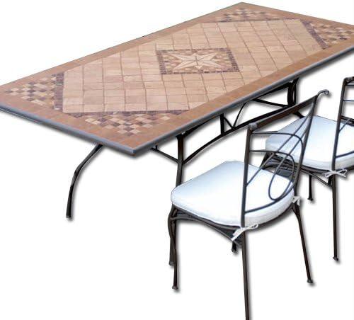 Tavoli Di Pietra Da Giardino.Tavolo In Ferro Battuto Da Giardino Mosaico In Pietra 200 X 100