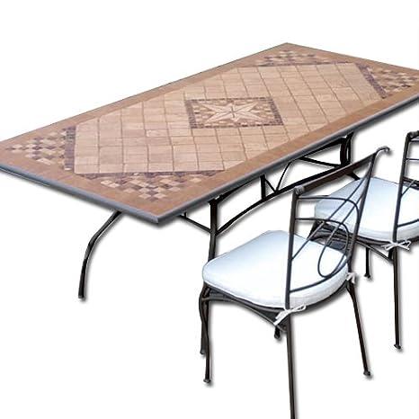 Tavolo In Ferro Battuto Da Giardino Mosaico In Pietra 160 X 90