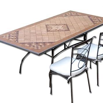 Tavoli Da Giardino In Pietra.Tavolo In Ferro Battuto Da Giardino Mosaico In Pietra 160 X 90