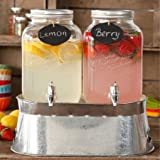 Simple Homemade Goodness Double 1-Gallon Twin Set Drink Dispenser with Ice Bucket, 2 Mini Chalk Boards and Chalk PencilModel#82793.03R