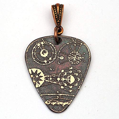 Handmade etched copper cosmic guitar pick pendant 30mm