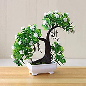 YURASIKU Artificial Plants Bonsai Fake Flowers Potted Small Tree Potted Ornaments for Hotel Garden Home Party Decoration 23