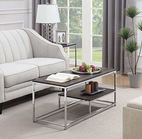 Convenience Concepts 134182WGY Wilshire Coffee Table, Weathered Gray/Chrome,