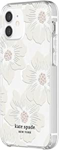 kate spade new york Protective Hardshell Case for iPhone 12 Mini - Hollyhock Floral Clear/Cream with Stones