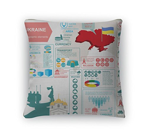 "Gear New Throw Pillow Accent Decor, Ukraine Infographics Statistical Data Sights Illustration, 20"" Cover & Insert, 5997415GN"