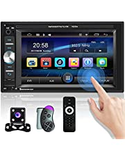 Double Din Car Stereo 6.2 Inch Touch Screen Car Radio Support Bluetooth FM Receiver DVR Mirror Link for Android/iOS USB AUX-in TF Card Port Car MP5 Player + Backup Camera