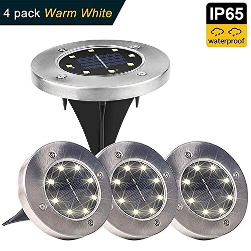 Solar Ground Lights,8 LED Garden Lights Waterproof Patio Outdoor Light with Light Sensor for Lawn,Pathway,Yard,Driveway,Step and Walkway (4 Pack Warm White)