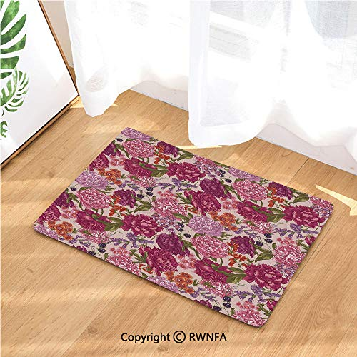 Door Mat Anti-Skid Washable Rug Peonies BlackBerry and Wild Flowers in Vintage Style Colorful Nature Yard Doormat Floor Décor,15.7