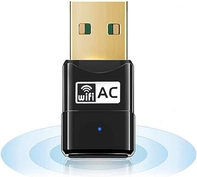 Maxesla Antena WiFi USB, AC 600Mbps Mini Adaptador WiFi USB Dual Band 2.4G/5GHz, Receptor WiFi USB para PC Desktop Laptop Tablet, USB WiFi Soporta ...