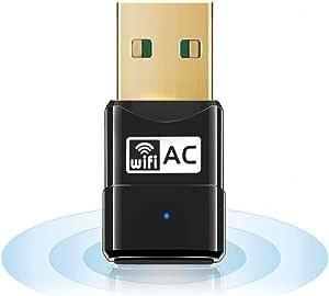 Maxesla WiFi Adaptador AC 600Mbps Mini USB WiFi Receptor Dual Band 2.4G/5GHz, WiFi Antena para PC Desktop Laptop Tablet, Soporta Mac OS X 10.6-10.14 / Windows XP/Vista /7/8/10