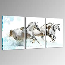 Sea Charm - Modern 3 Panels Wall Painting,Running White Horses Wall Art Animal Picture Canvas Print for Home Office Wall Decor,Framed Ready to Hang