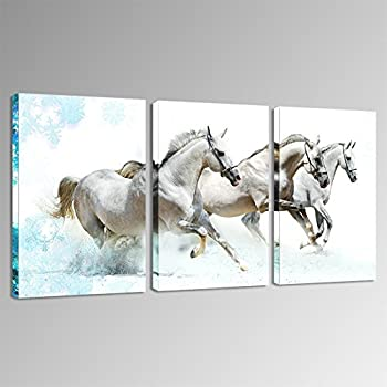 Superbe Sea Charm   Modern 3 Panels Wall Painting,Running White Horses Wall Art  Animal Picture