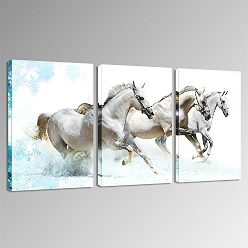 Sea Charm   Modern 3 Panels Wall Painting,Running White Horses Wall Art  Animal Picture Canvas Print For Home Office Wall Decor,Framed Ready To Hang