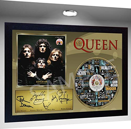S&E DESING Queen Freddie Mercury Signed Framed Photo Print and Bohemian Rhapsody CD Disc ()