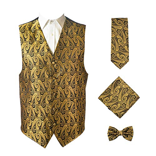 4pc Paisley Vest Set-Gold/Black-L