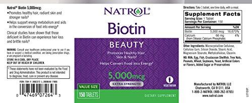 Natrol Biotin Tablets 5,000mcg, 150 Count