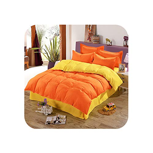 MUZIBLUE Home Textile Coffee Bedding Set 100% Microfiber Duvet Cover 4pcs Bed Set Solid Twin Full Queen King Size Bedclothes Adult Sheet,Yellow Orange,King,Flat Bed - Turtle Queen Sheets Ninja