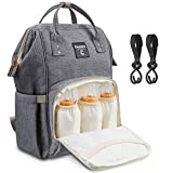 Diaper Bag Backpack for Baby Care, Multi-Functional Waterproof Travel Backpack Nappy Tote Bags Large Capacity Creative Fashion Package Best Gift for Mom&Dad (A-Grey(3 bottle bags in front))