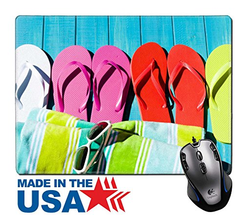 """MSD Natural Rubber Mouse Pad/Mat with Stitched Edges 9.8"""" x 7.9"""" IMAGE ID 20488458 Colorful flip flops by a swimming - Gamers Eyewear Edge"""