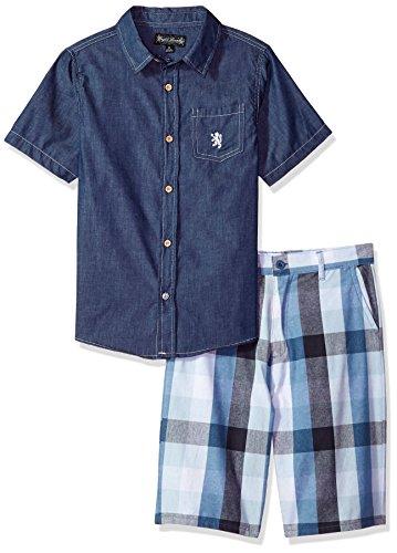 Chambray Plaid Shirt (English Laundry Toddler Boys' Chambray Shirt and Plaid Short Set, Multi Plaid, 3T)