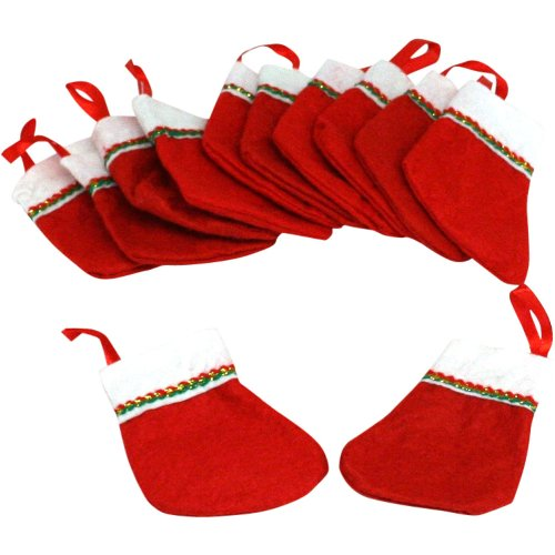 amazoncom 12 mini christmas stockings approx 3 1 hanging loop new toys games - Small Christmas Stockings